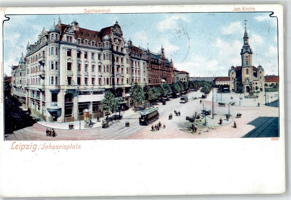 51686720 leipzig 1901 johannisplatz kirche sachsenhof strassenbahn preissenkun ebay. Black Bedroom Furniture Sets. Home Design Ideas